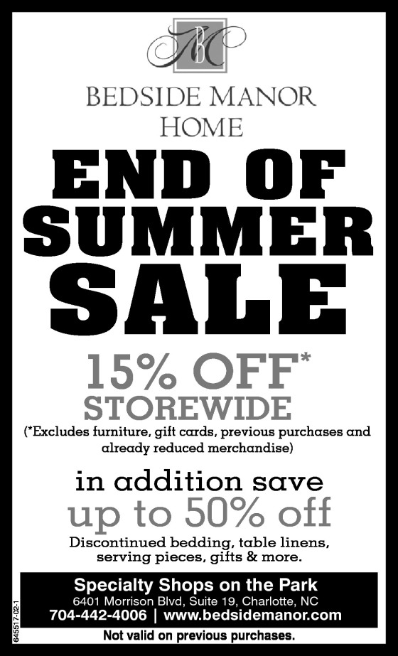 Bedside Manor Summer Sale