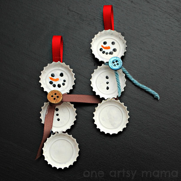 Bottle-Cap-Snowman-Ornaments