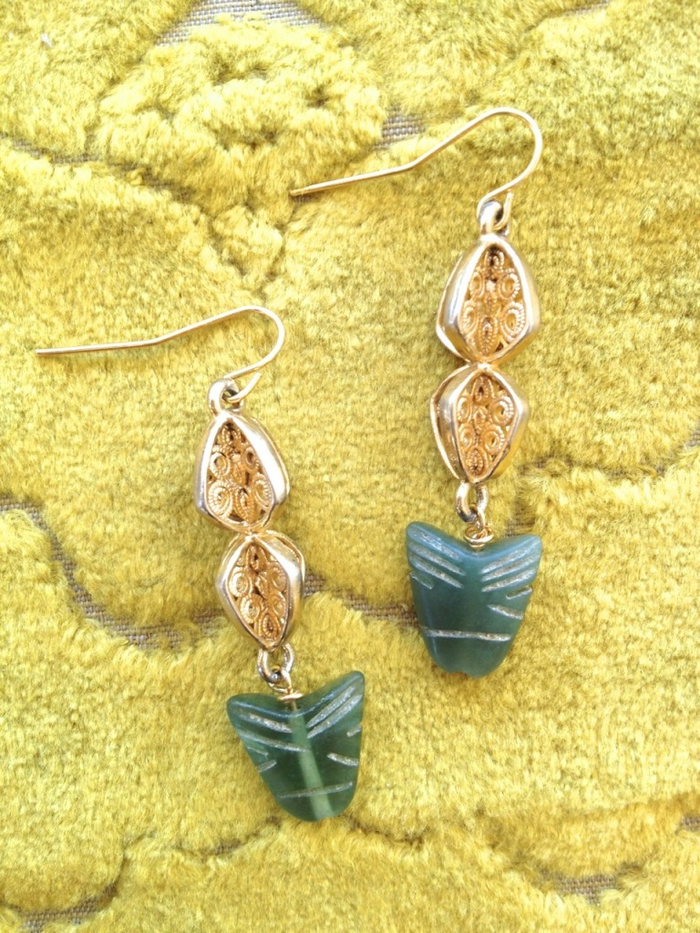 Laura James Vintage Jade Arrowhead Earrings
