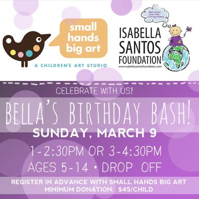 Small Hands Big Art Bella's Birthday Bash Invite
