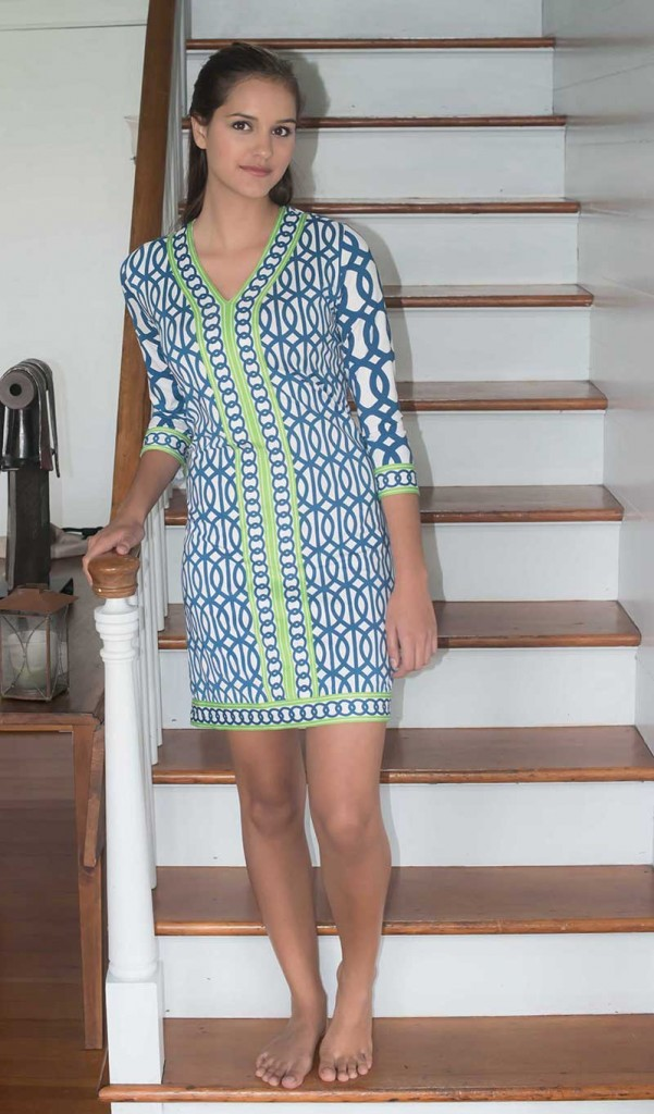 Gretchen Scott Navy Geo Jersey Dress