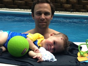 Adam and Leo in the pool