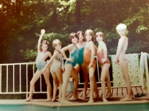 Yes that's me on the left striking quite a pose in my Wonder Woman bathing suit!