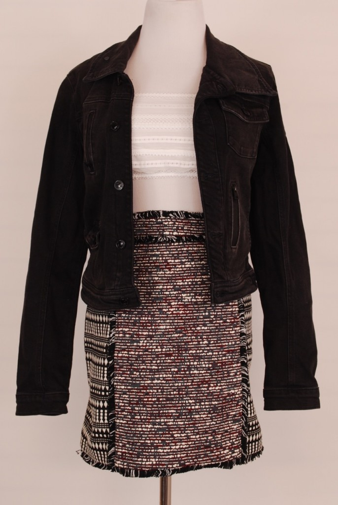 Guess jacket, S, Original Retail - $158, CWS Price - $39, Free People top, S, Original Retail - $38, CWS Price - $12, French Connection skirt, 2, Original Retail - $138, CWS Price - $39