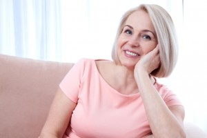 Woman smiles blepharoplasty