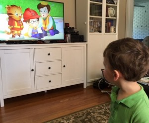 "Wade watching ""Daniel Tiger."""